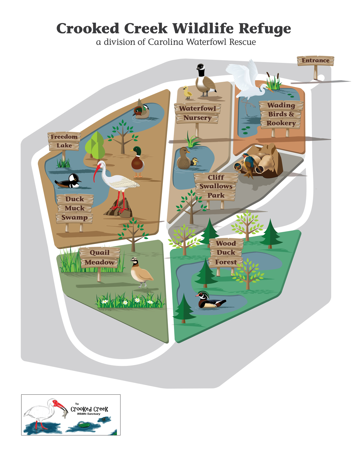 Map of Crooked Creek Wildlife Refuge, a division of Carolina Waterfowl Rescue, by Dawn Cavalieri.