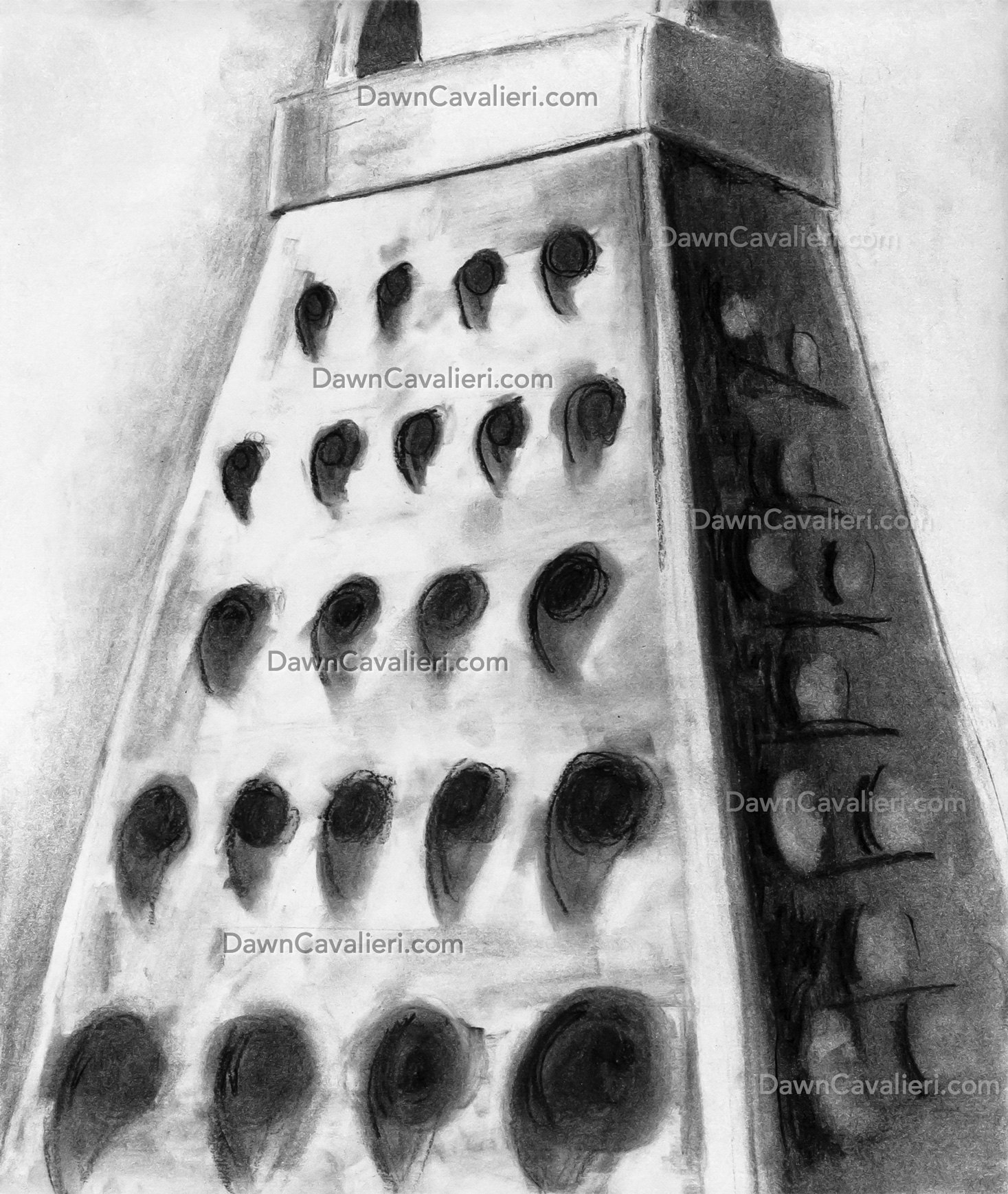 Three-point perspective drawing of a grater, by Dawn Cavalieri.