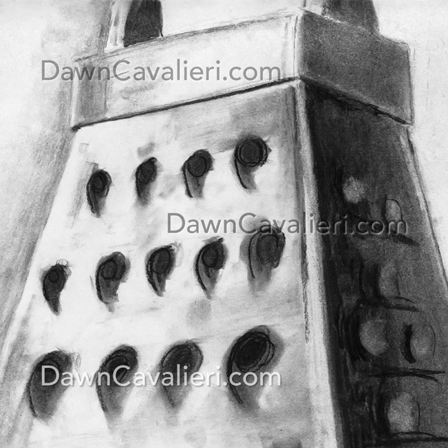 Three-point perspective drawing of a grater, by Dawn Cavalieri, artist and illustrator.