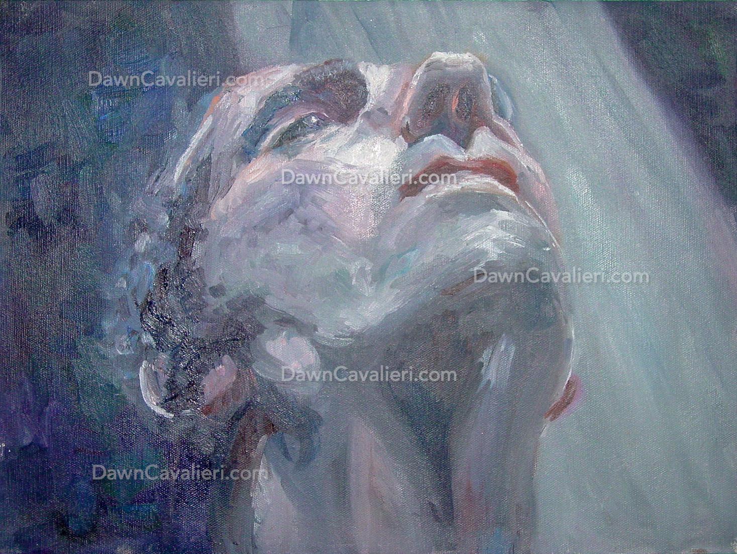 Painting of Harry Dean Stanton in Alien, by Dawn Cavalieri.
