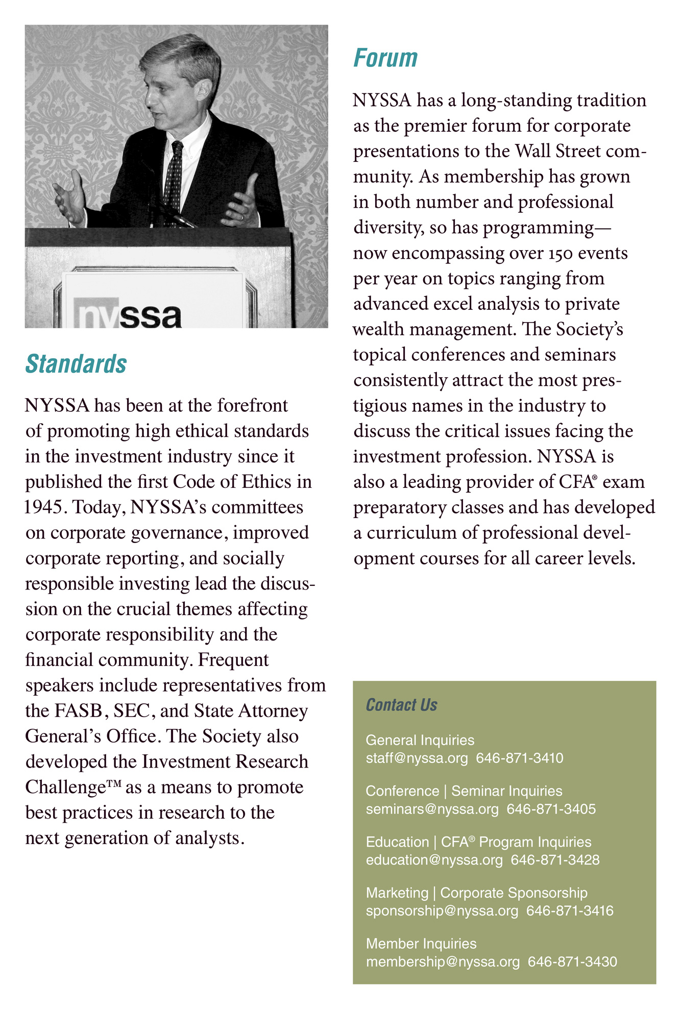 Brochure for The New York Society of Security Analysts (NYSSA).