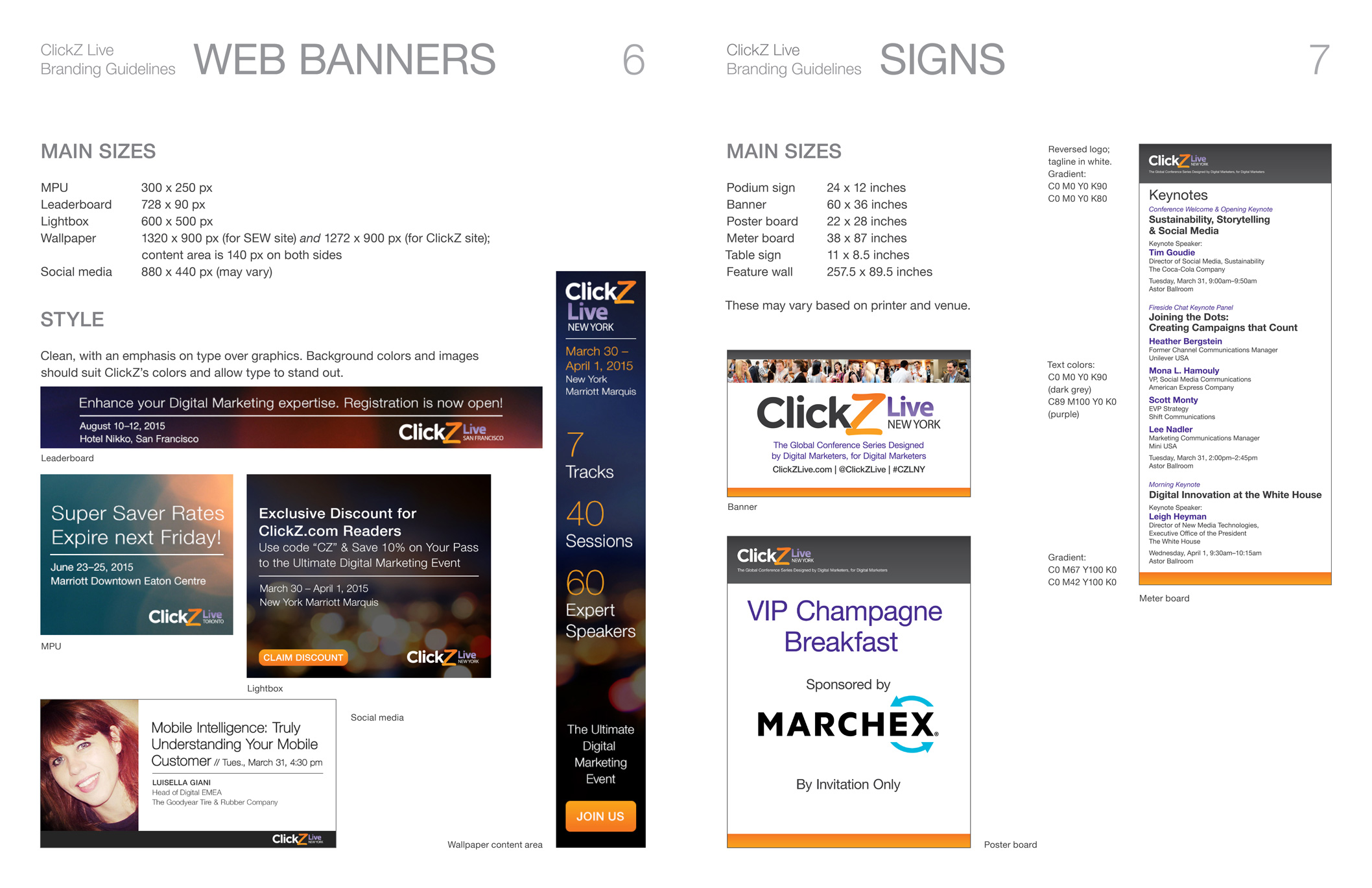 Ad and sign specs for ClickZ brand.