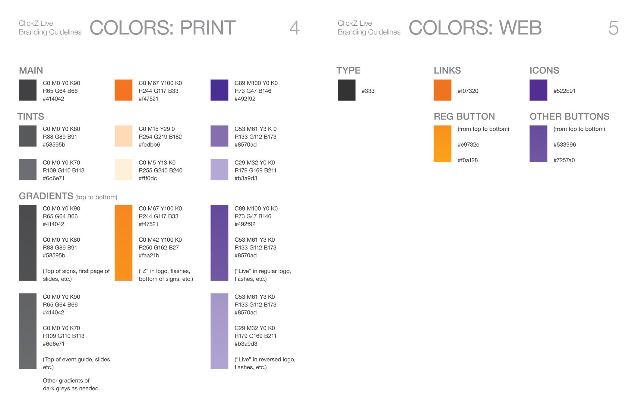 Colors for ClickZ brand.