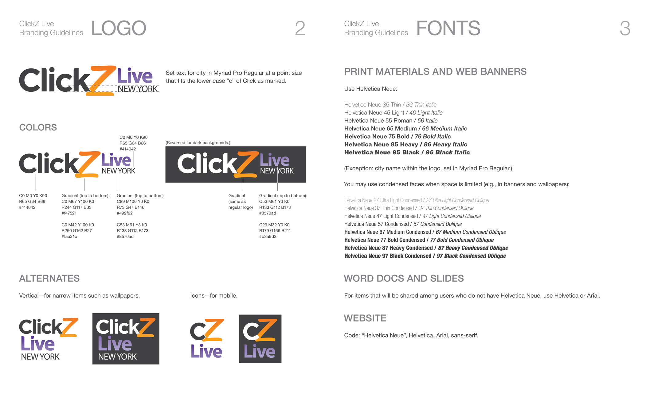 Logo and fonts for ClickZ branding.