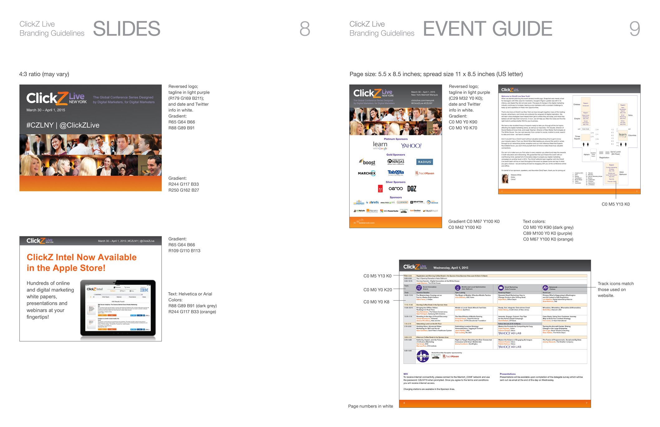 Specs for PowerPoint slides and event guide for ClickZ brand.