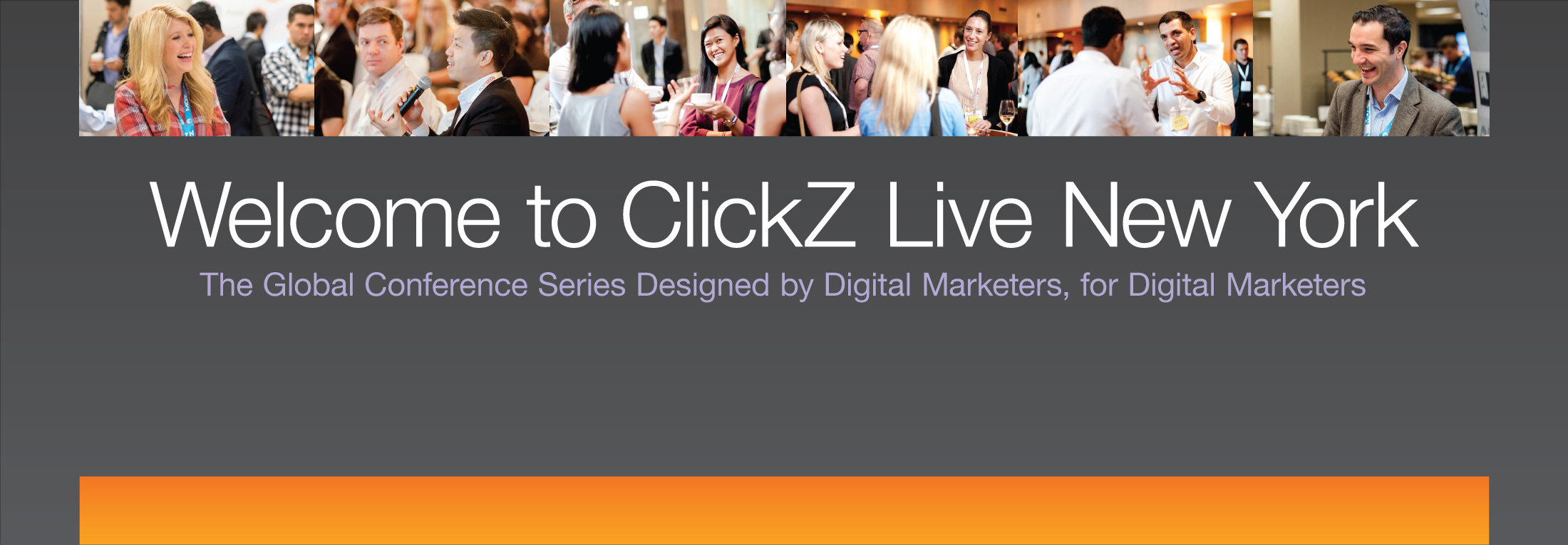 Welcome sign at ClickZ conference.