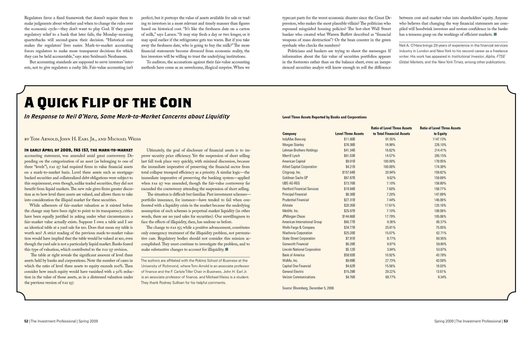 Article in The Investment Professional about fair-value accounting.