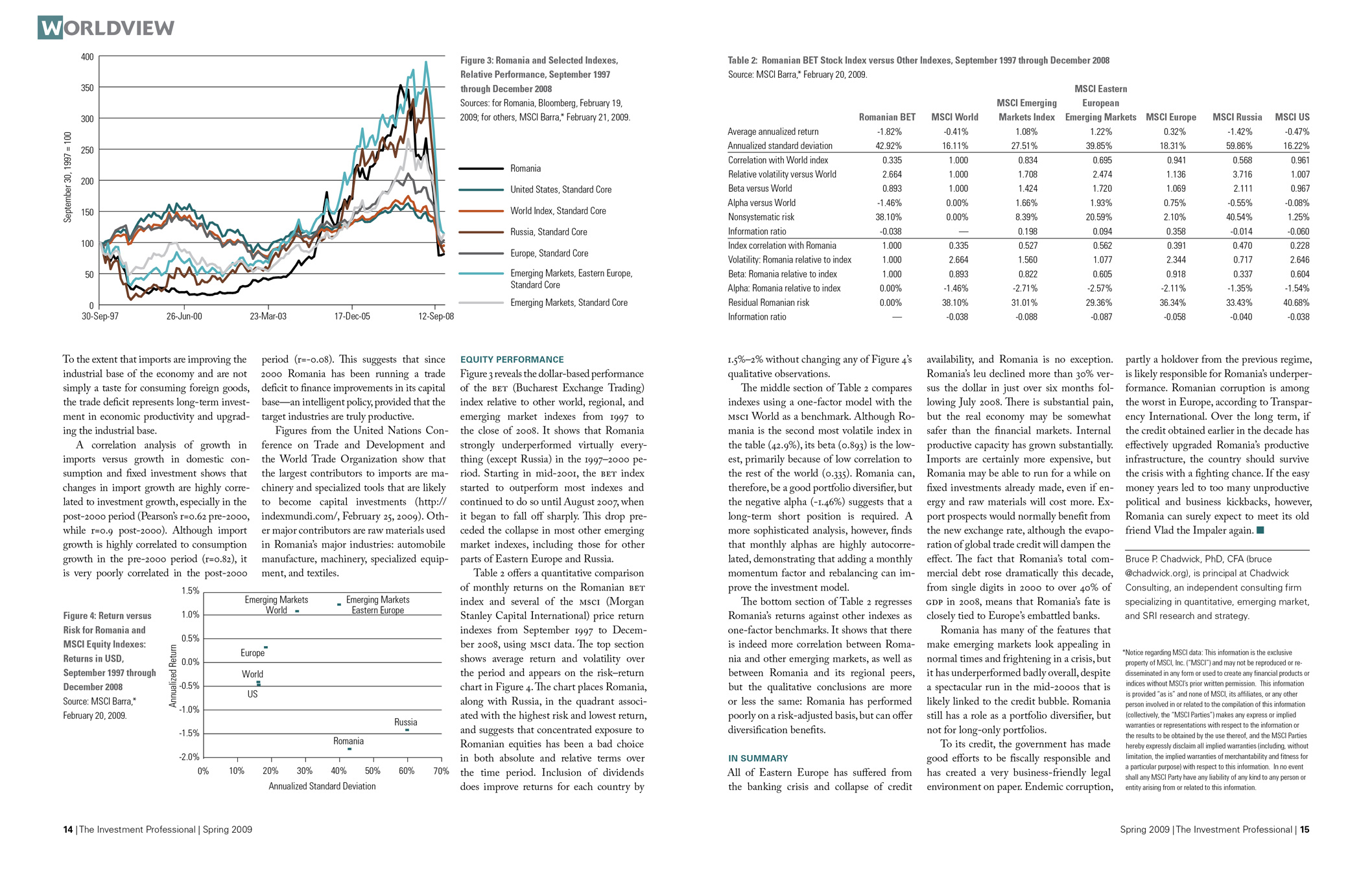 Article in The Investment Professional about Romania's economy during the financial crisis.