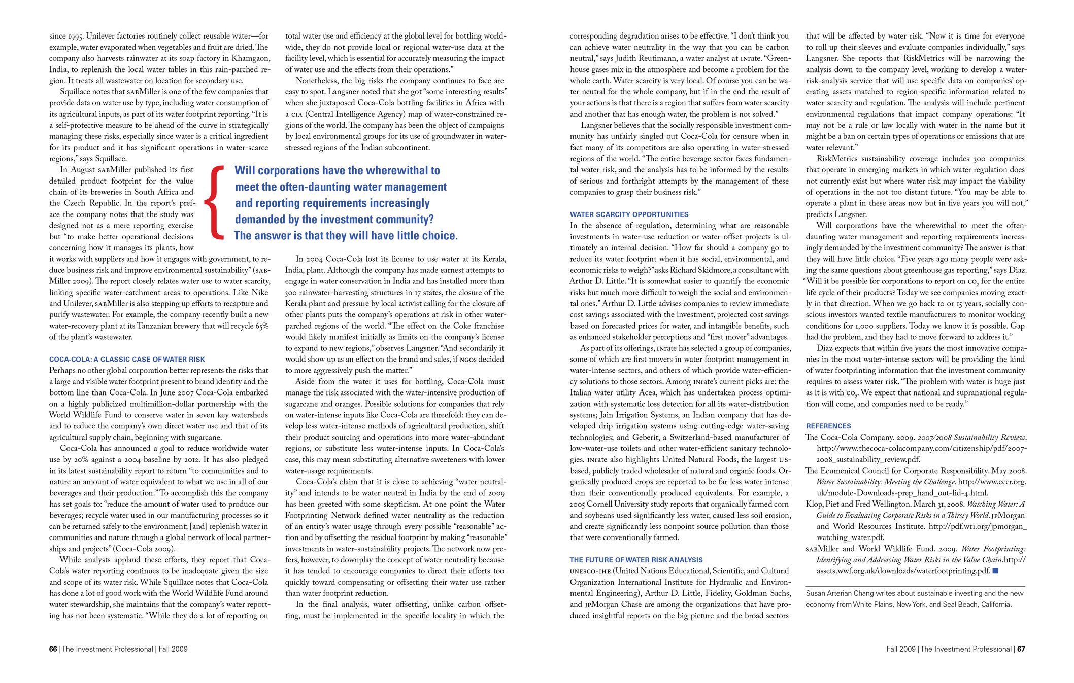 Article in The Investment Professional about the risks of impending water shortages.