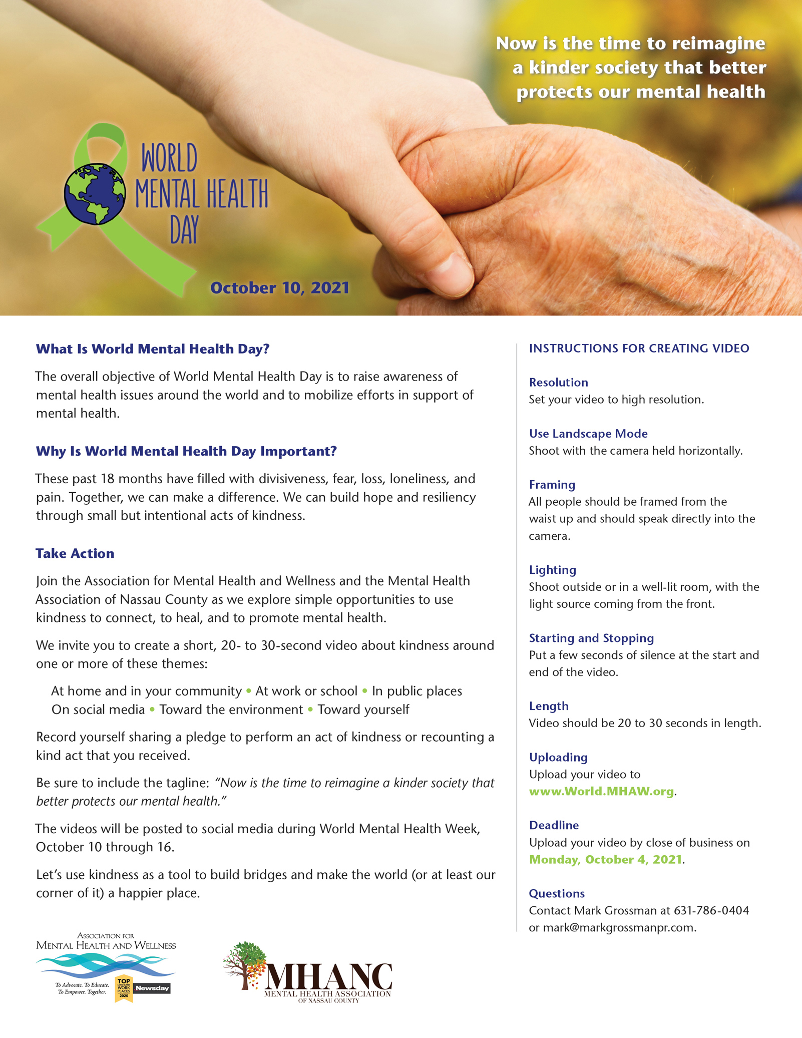 Designer for print ads and flyers, like this flyer for the Association for Mental Health and Wellness.